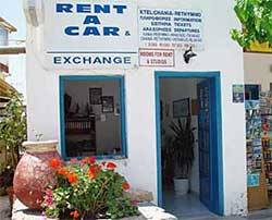 Sfakia Tours car hire office on the village square of Chora Sfakion, Crete